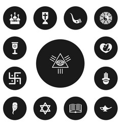 Set of 13 editable faith icons includes symbols vector