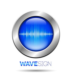 Silver button with sound wave sign vector