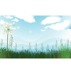 Tall grasses under the blue sky vector