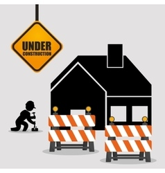 Under construction worker barrier road house vector