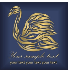 Vintage ornamental gold swan vector