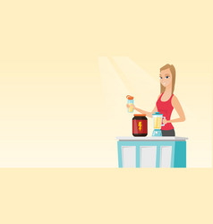Young woman making protein cocktail vector