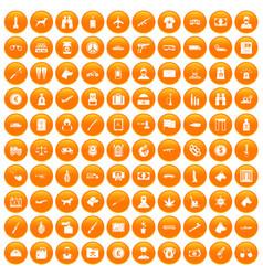 100 smuggling icons set orange vector