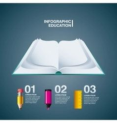 Book pencil marker rule icon infographic vector