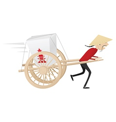 Funny chinese food delivery boy with wooden wagon vector image