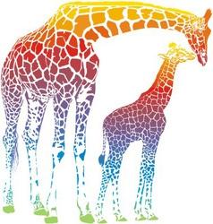 rainbow giraffe mother with cub vector image