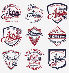 athletic set of 9 vector image