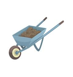 Wheelbarrow full of soil or compost cartoon vector