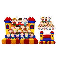 Happy children play in the bouncing house vector