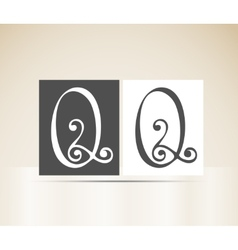 Retro alphabet letter q art deco vintage design vector