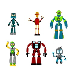 Six colorful cartoon robots isolated on white vector