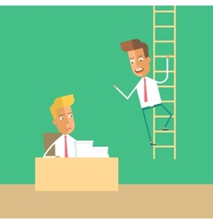 Career development man climbs up the stairs vector