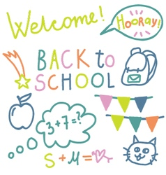 English text back to school vector