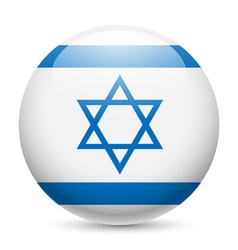 Round glossy icon of israel vector