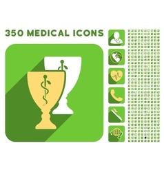 Medical cups icon and medical longshadow icon set vector