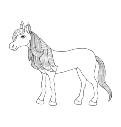 Charming cartoon horse with long golden mane and vector