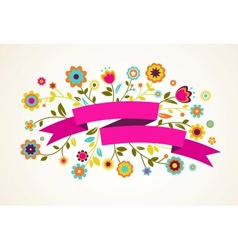Greeting card with flowers vector