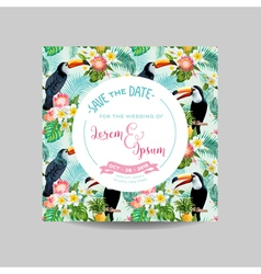 Tropical Toucan Bird Wedding Card Invitation vector image