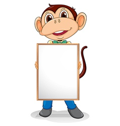 A smiling monkey holding an empty board vector image