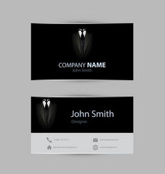 black tuxedo business card vector image vector image