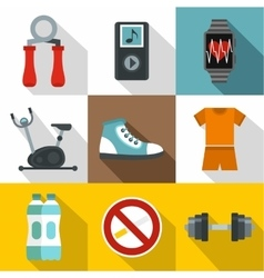 Classes in gym icons set flat style vector