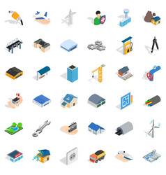 Construction industry icons set isometric style vector