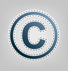 Copyright sign blue icon vector