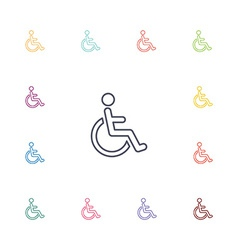 Cripple flat icons set vector