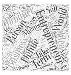 Define entrepreneur word cloud concept vector