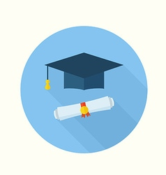 Graduation Student Hat and Diploma vector image
