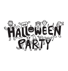 halloween monster characters party vector image