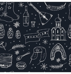 Hand drawn doodle russia travel seamless pattern vector