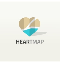 Heart shaped map logo city vector