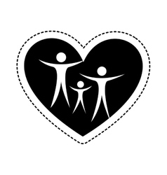 Heart with family silhouette vector