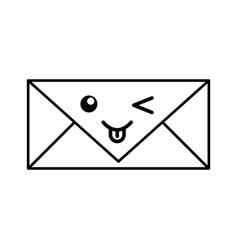 kawaii envelope cartoon vector image vector image