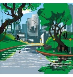 Landscape - the townspeople near the river in the vector image vector image