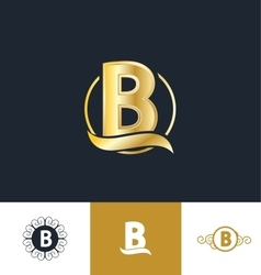 Letter b gold golden logo vector