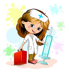 little girl nurse vector image vector image