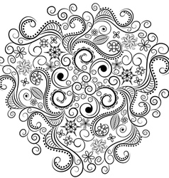 Monochrome floral background hand drawn ornamen vector