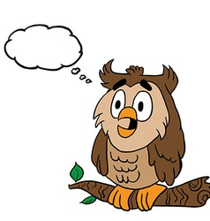 owl with thought bubble vector image vector image