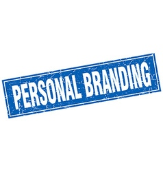 Personal branding blue square grunge stamp on vector