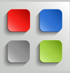 Set of colorful buttons with shadow on white vector