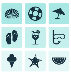 Sun icons set collection of tube star conch and vector