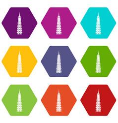 temple icon set color hexahedron vector image vector image