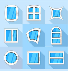 Types of casement icons set flat style vector