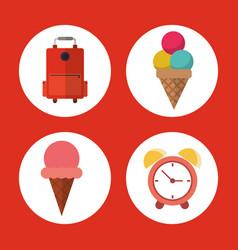 vacation suitcase ice cream clock concept vector image
