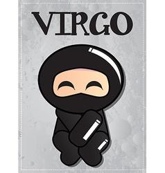Zodiac sign Virgo with cute black ninja character vector image