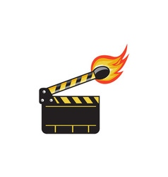 Clapper board match stick on fire retro vector