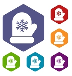 Mitten with white snowflake icons set vector