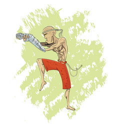 Cool cartoon muay thai fighter layer vector